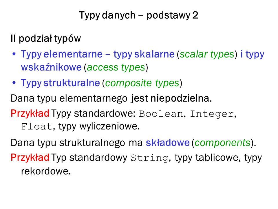 Typy danych – podstawy 2 II podział typów. Typy elementarne – typy skalarne (scalar types) i typy wskaźnikowe (access types)