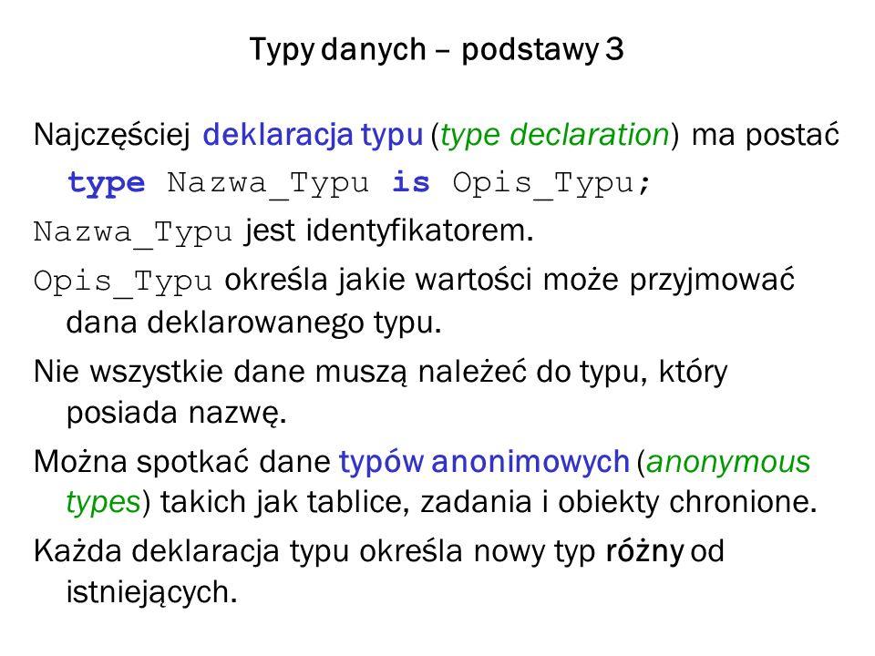 Typy danych – podstawy 3 Najczęściej deklaracja typu (type declaration) ma postać. type Nazwa_Typu is Opis_Typu;
