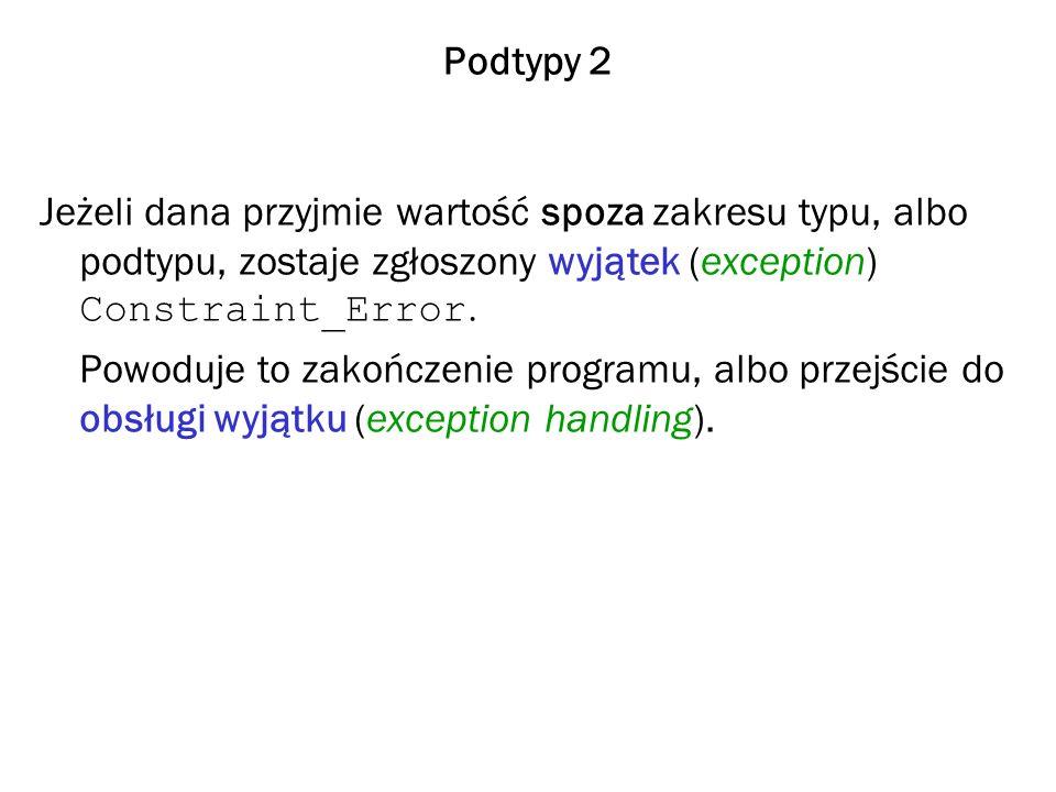 Podtypy 2 Jeżeli dana przyjmie wartość spoza zakresu typu, albo podtypu, zostaje zgłoszony wyjątek (exception) Constraint_Error.
