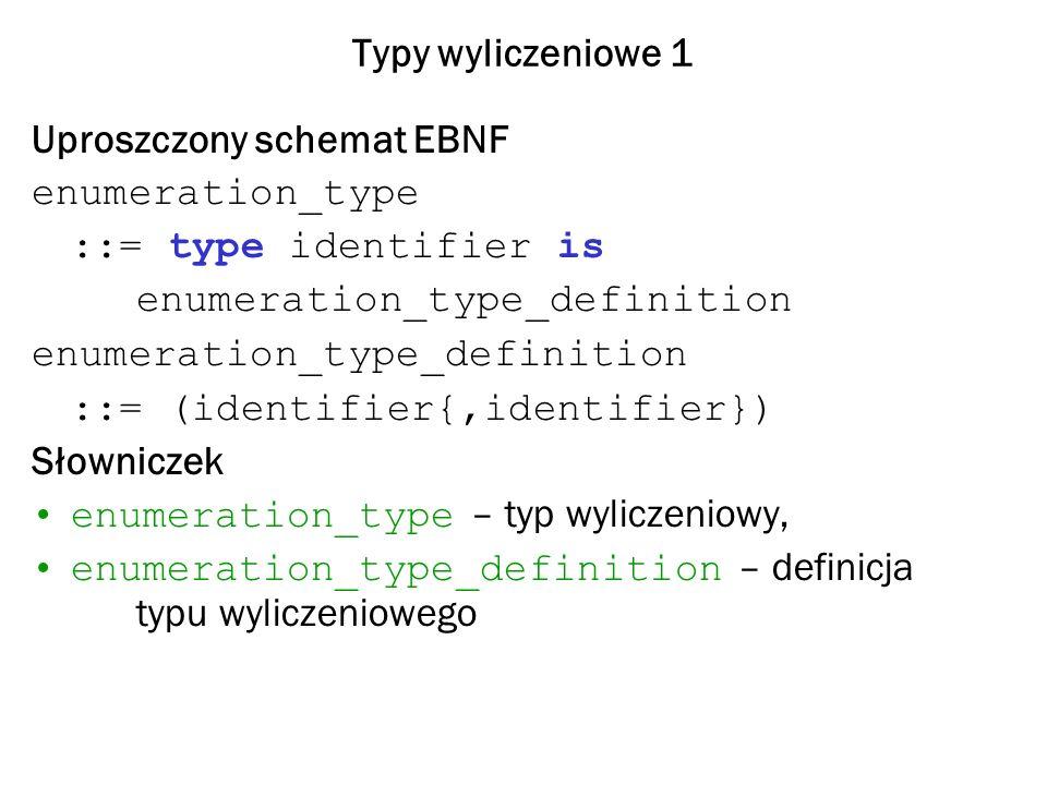 Typy wyliczeniowe 1 Uproszczony schemat EBNF. enumeration_type. ::= type identifier is. enumeration_type_definition.
