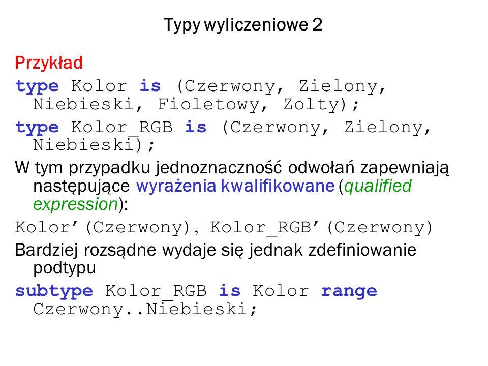 Typy wyliczeniowe 2 Przykład. type Kolor is (Czerwony, Zielony, Niebieski, Fioletowy, Zolty); type Kolor_RGB is (Czerwony, Zielony, Niebieski);