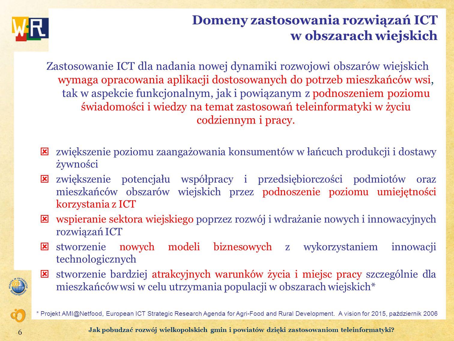 Domeny zastosowania rozwiązań ICT w obszarach wiejskich