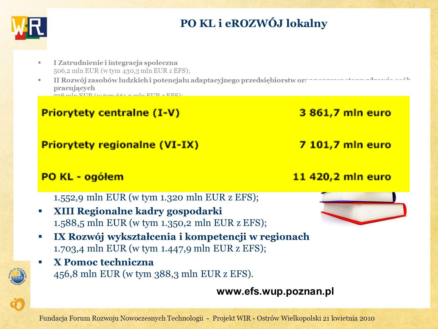 PO KL i eROZWÓJ lokalny www.efs.wup.poznan.pl