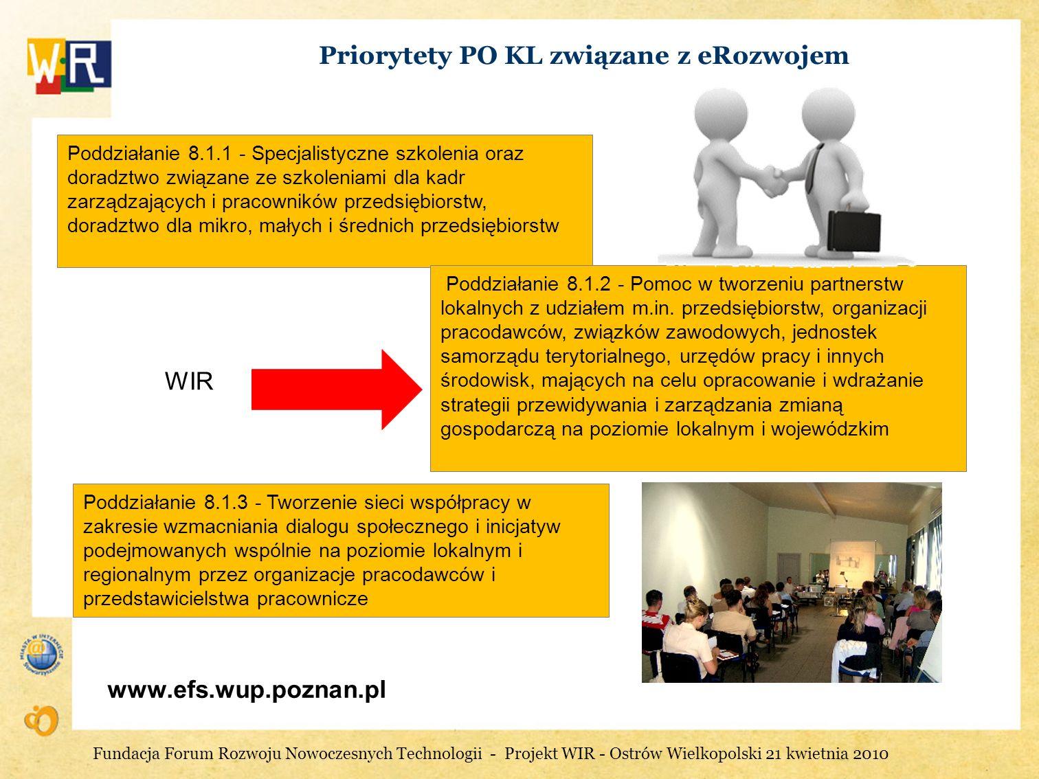 Priorytety PO KL związane z eRozwojem
