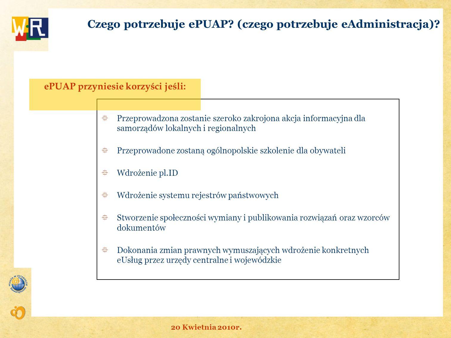 Czego potrzebuje ePUAP (czego potrzebuje eAdministracja)