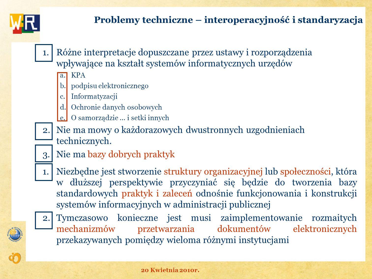 Problemy techniczne – interoperacyjność i standaryzacja