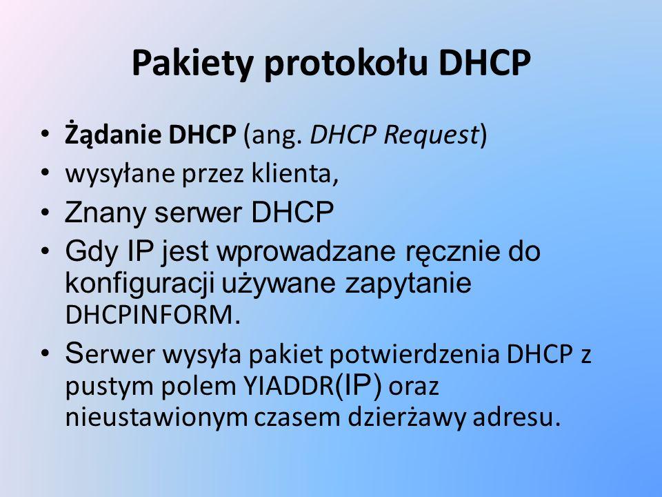 Pakiety protokołu DHCP