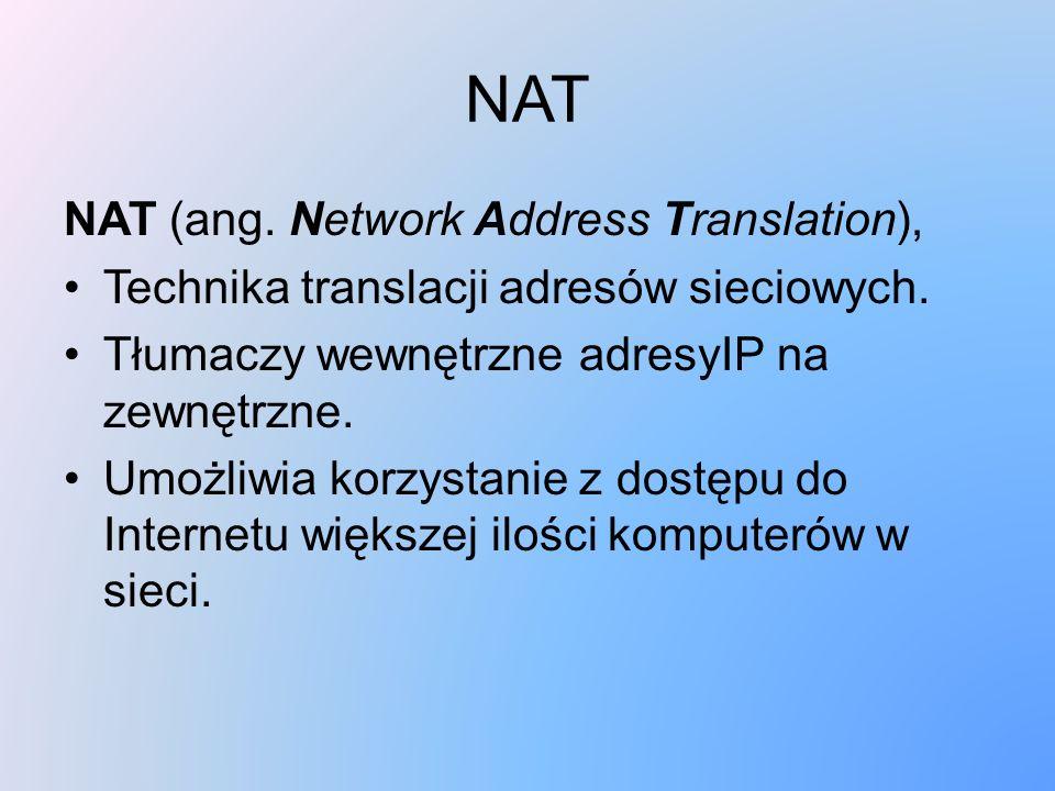 NAT NAT (ang. Network Address Translation),