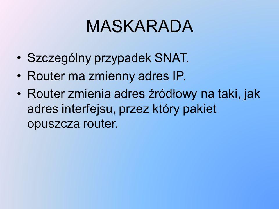 MASKARADA Szczególny przypadek SNAT. Router ma zmienny adres IP.