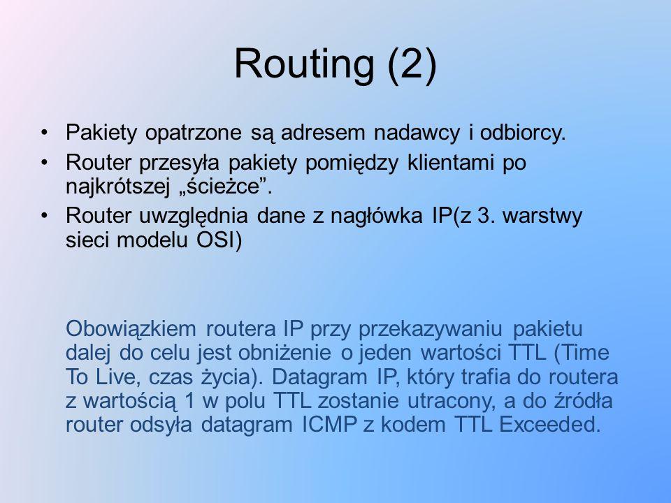 Routing (2) Pakiety opatrzone są adresem nadawcy i odbiorcy.