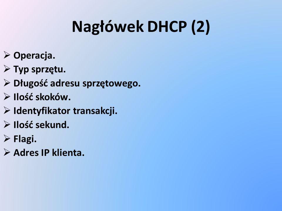 Nagłówek DHCP (2) Operacja. Typ sprzętu. Długość adresu sprzętowego.
