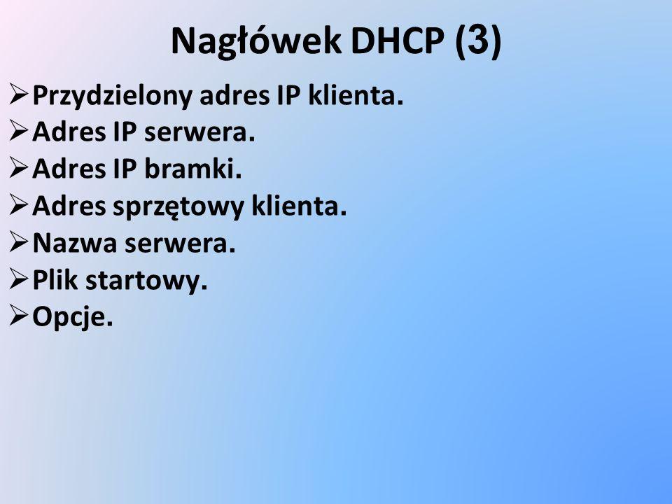 Nagłówek DHCP (3) Przydzielony adres IP klienta. Adres IP serwera.