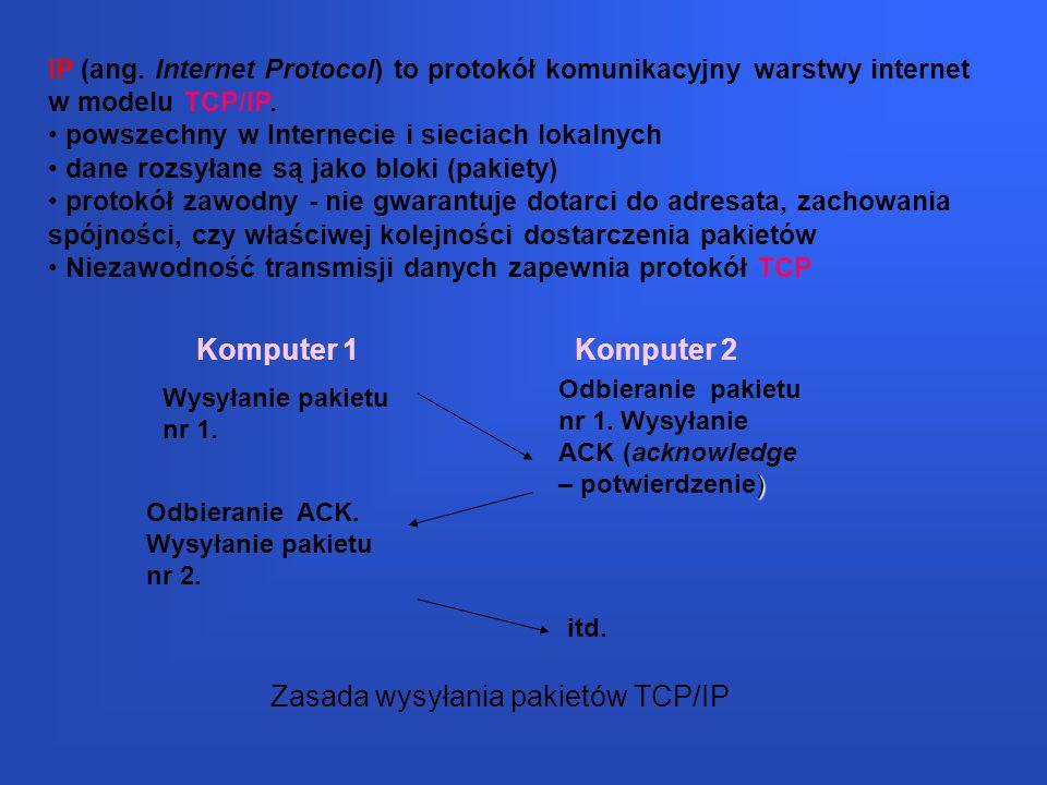 Zasada wysyłania pakietów TCP/IP