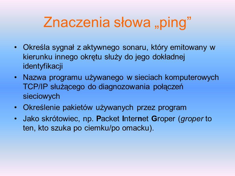 """Znaczenia słowa """"ping"""