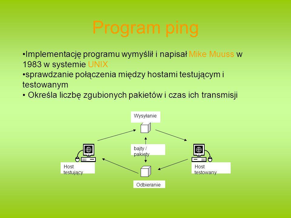 Program ping Implementację programu wymyślił i napisał Mike Muuss w 1983 w systemie UNIX.