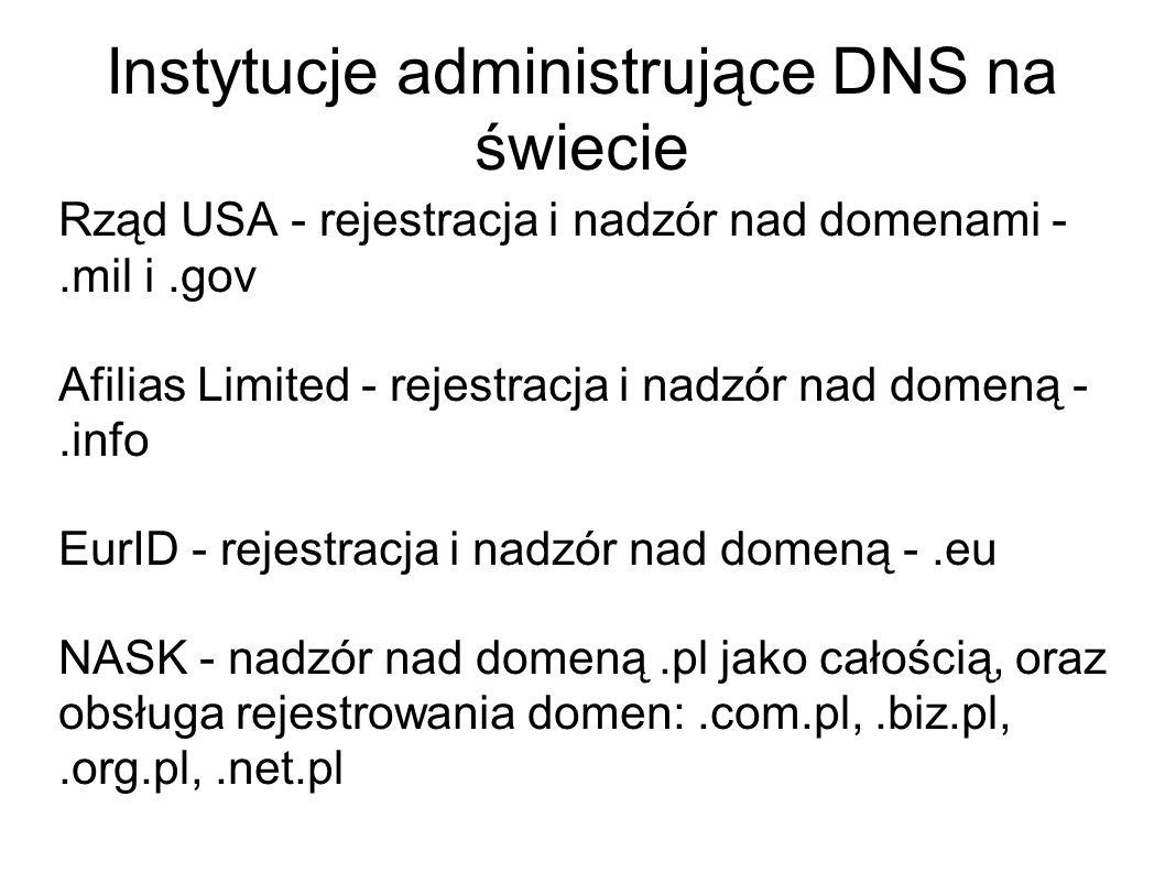 Instytucje administrujące DNS na świecie