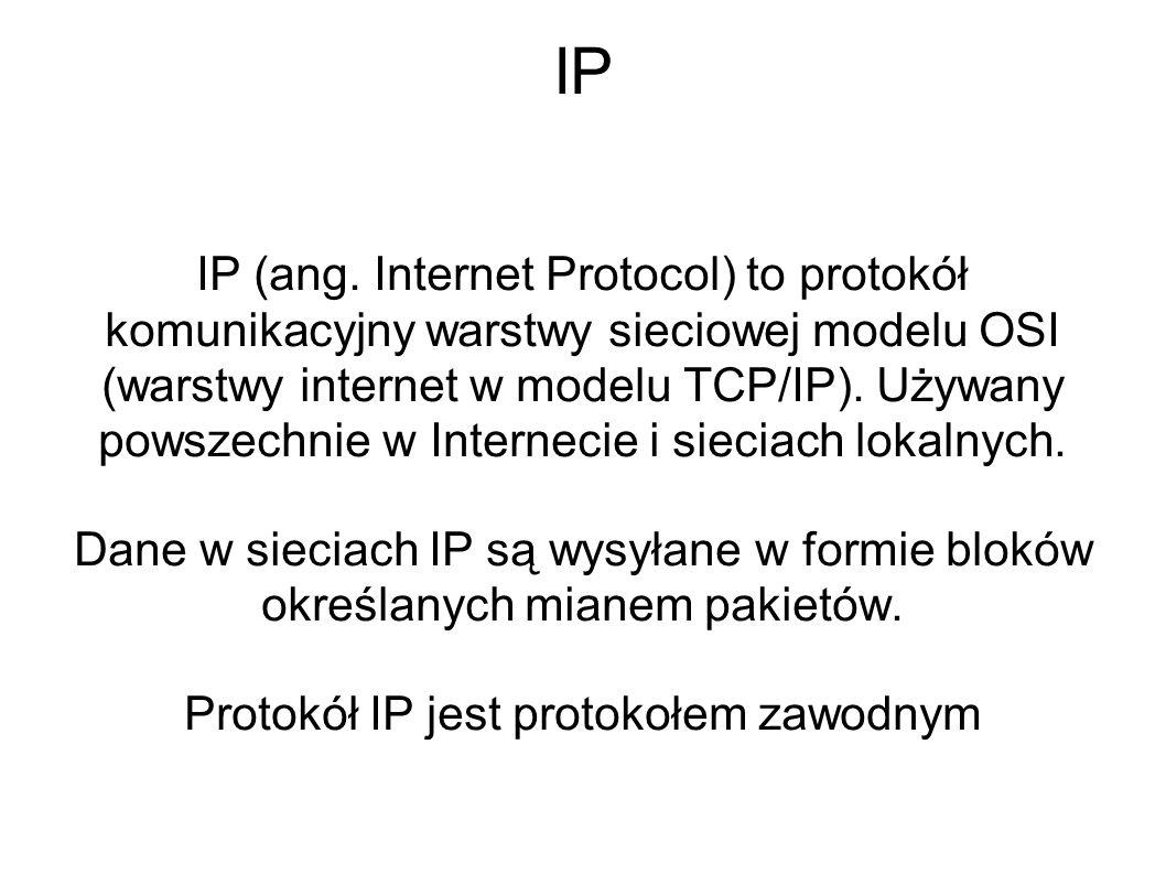 Protokół IP jest protokołem zawodnym