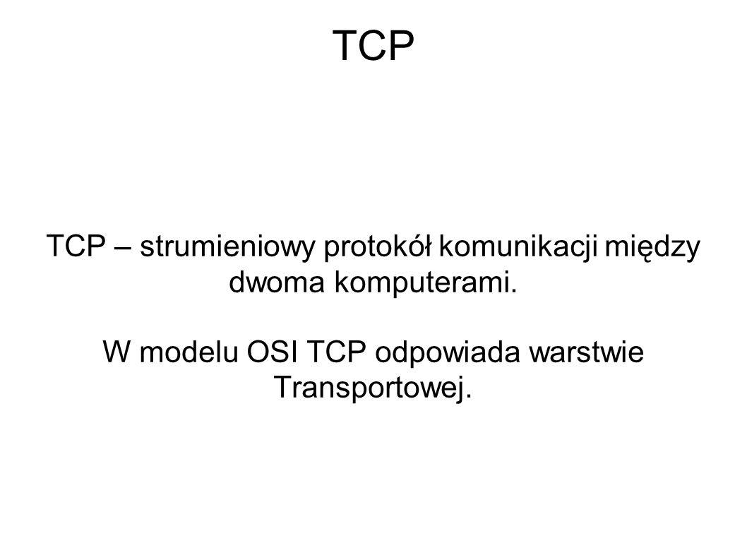 TCP TCP – strumieniowy protokół komunikacji między dwoma komputerami.
