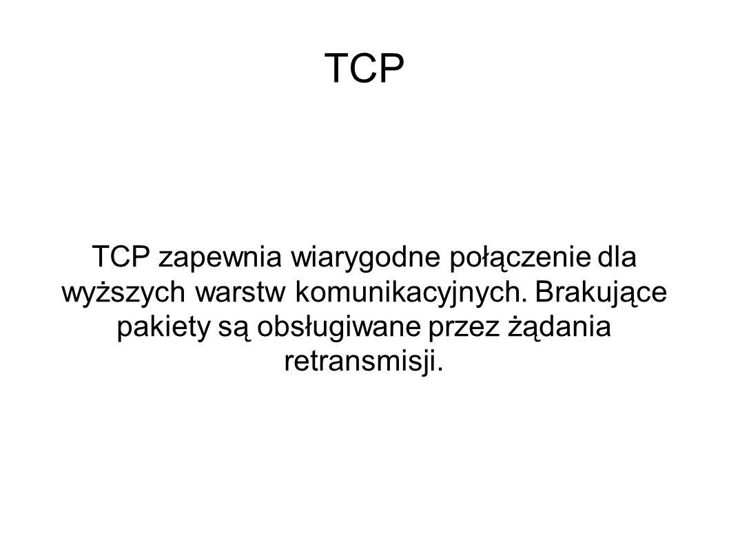 TCP TCP zapewnia wiarygodne połączenie dla wyższych warstw komunikacyjnych.