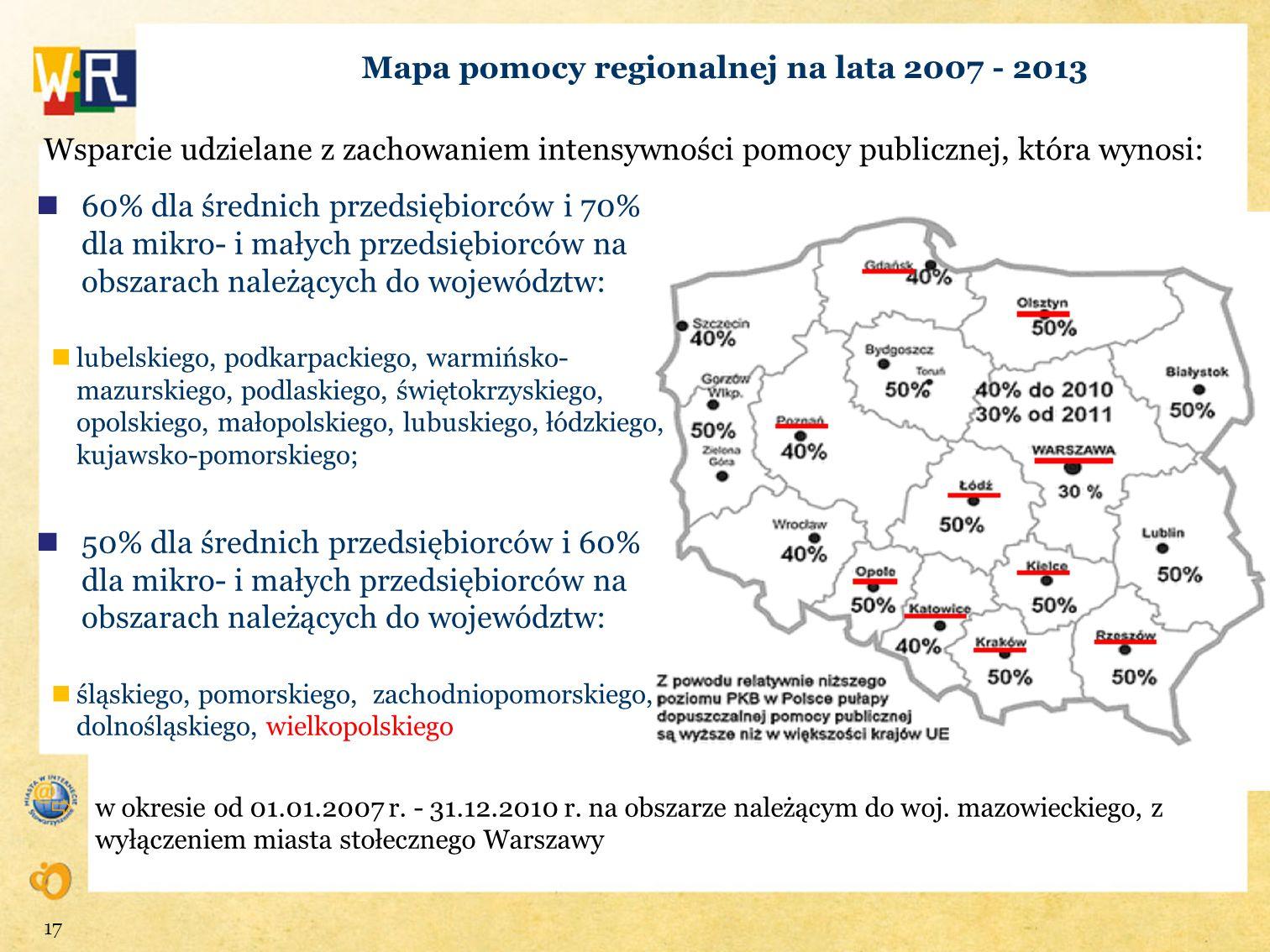 Mapa pomocy regionalnej na lata 2007 - 2013