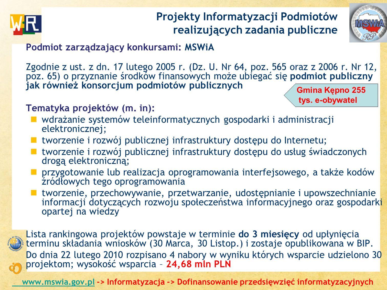 Projekty Informatyzacji Podmiotów realizujących zadania publiczne