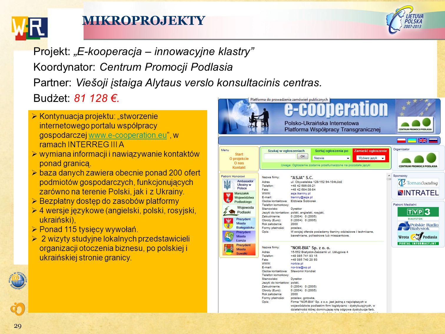 """MIKROPROJEKTY Projekt: """"E-kooperacja – innowacyjne klastry"""