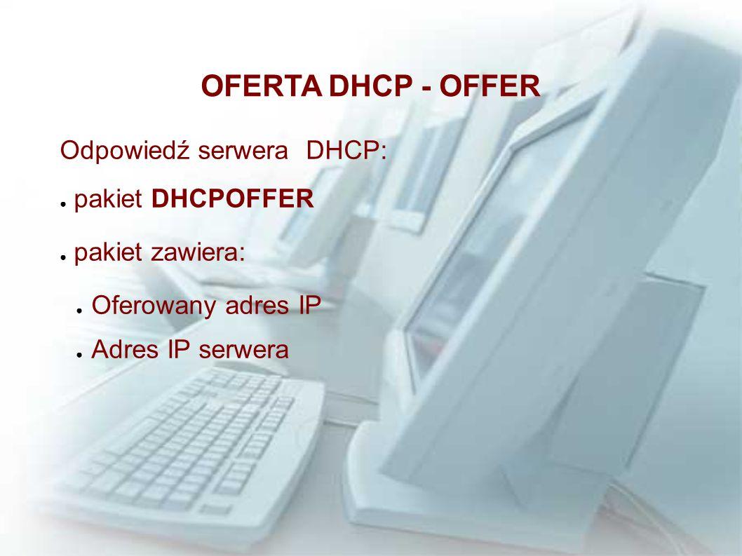 OFERTA DHCP - OFFER Odpowiedź serwera DHCP: pakiet DHCPOFFER