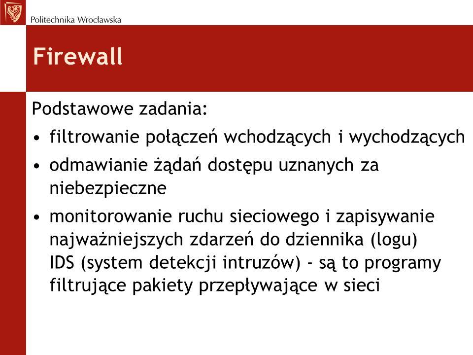 Firewall Podstawowe zadania: