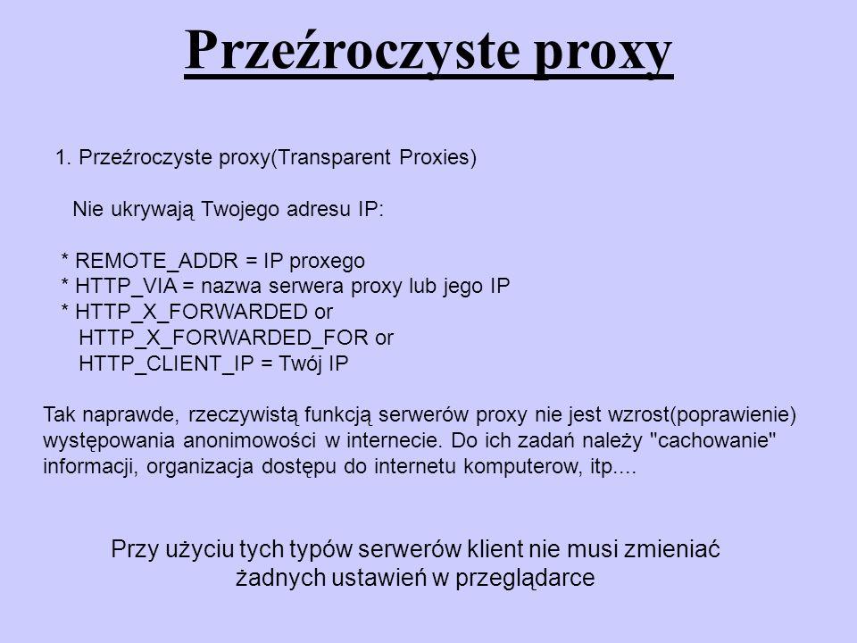 Przeźroczyste proxy 1. Przeźroczyste proxy(Transparent Proxies) Nie ukrywają Twojego adresu IP: