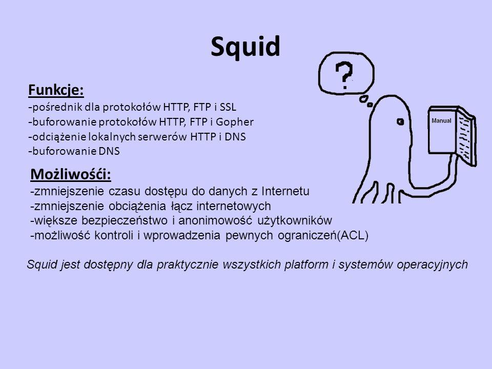 Squid Funkcje: Możliwośći: -pośrednik dla protokołów HTTP, FTP i SSL