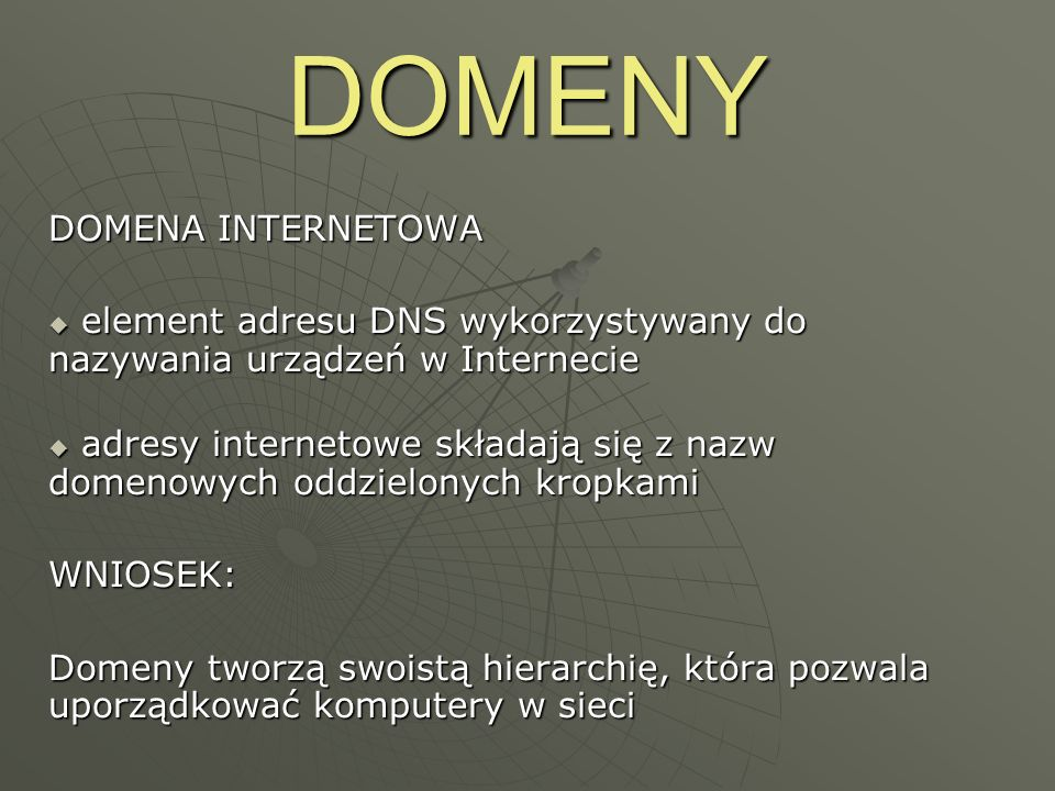 DOMENY DOMENA INTERNETOWA