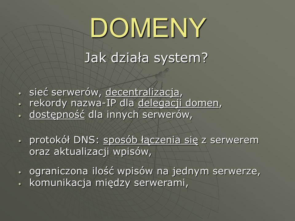 DOMENY Jak działa system sieć serwerów, decentralizacja,