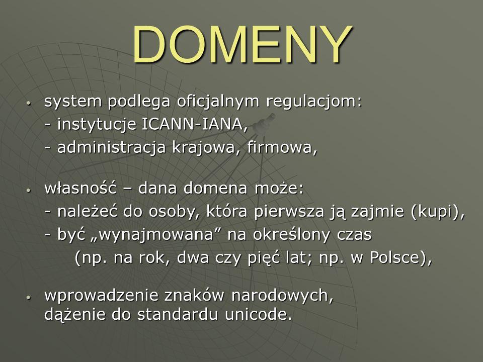 DOMENY system podlega oficjalnym regulacjom: - instytucje ICANN-IANA,