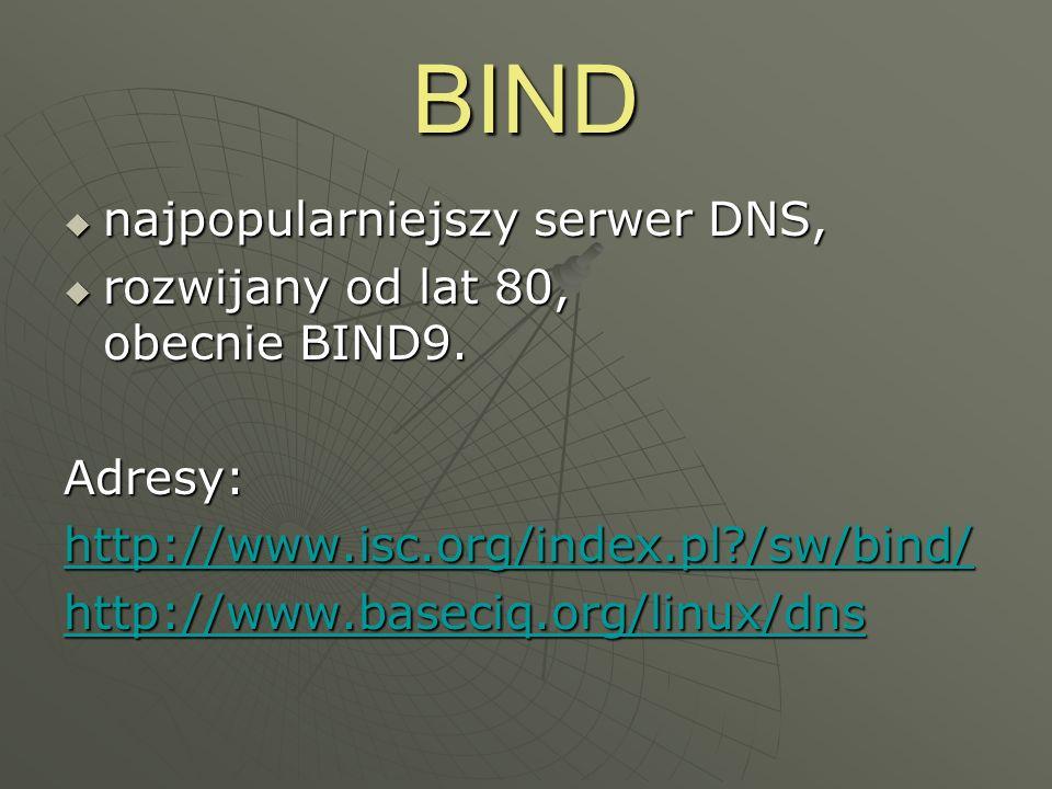BIND najpopularniejszy serwer DNS, rozwijany od lat 80, obecnie BIND9.