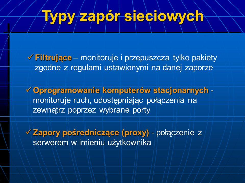 Typy zapór sieciowych Filtrujące – monitoruje i przepuszcza tylko pakiety zgodne z regułami ustawionymi na danej zaporze.