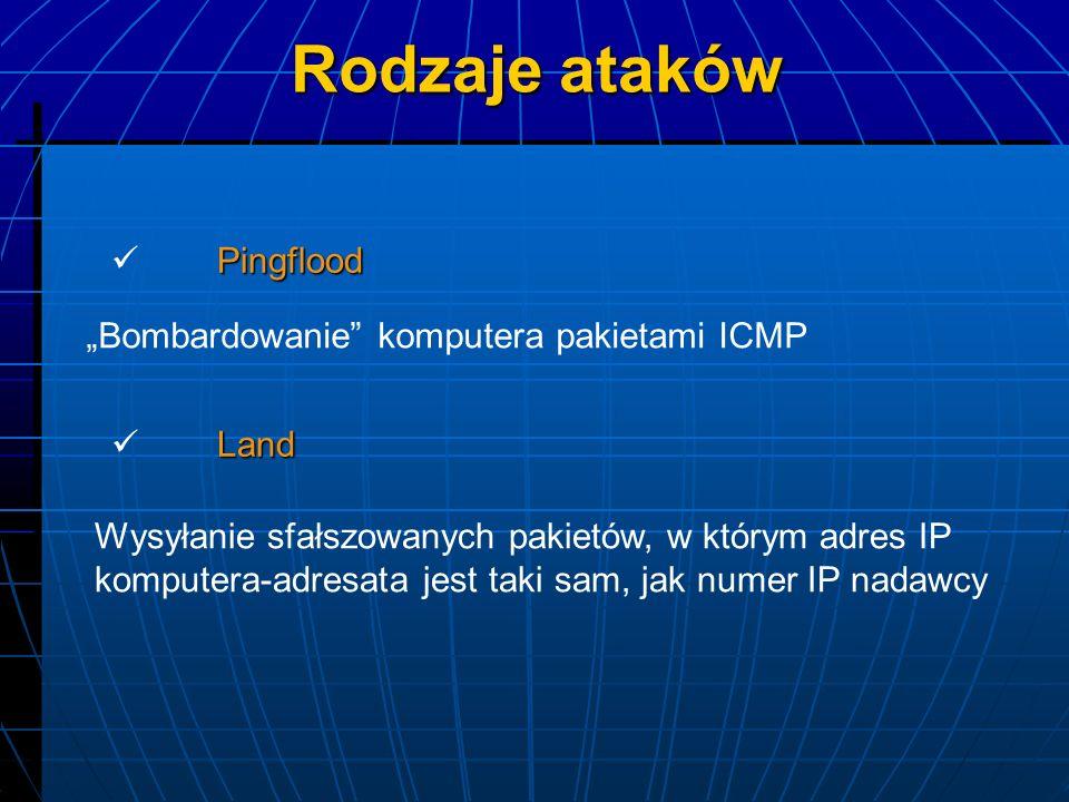 "Rodzaje ataków Pingflood ""Bombardowanie komputera pakietami ICMP Land"