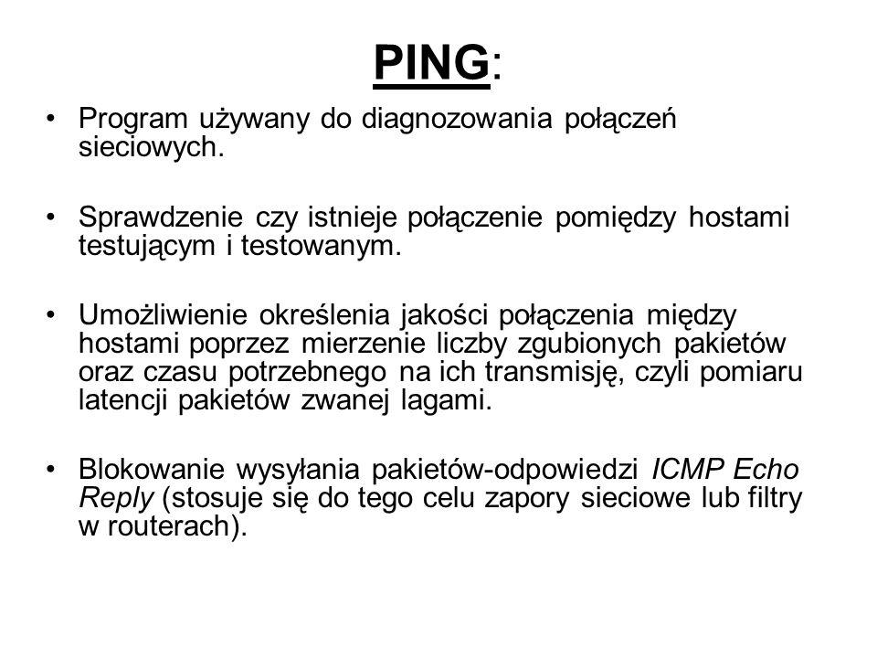 PING: Program używany do diagnozowania połączeń sieciowych.