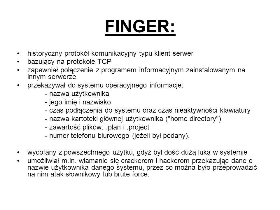 FINGER: historyczny protokół komunikacyjny typu klient-serwer