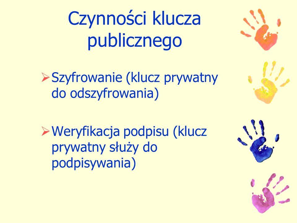 Czynności klucza publicznego