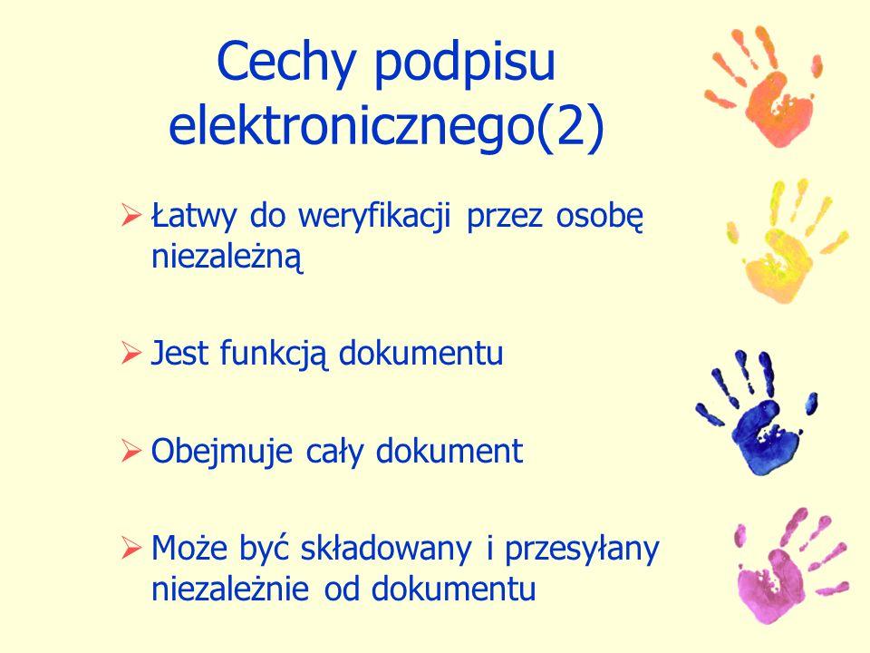 Cechy podpisu elektronicznego(2)