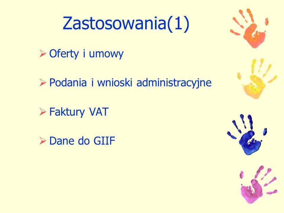 Zastosowania(1) Oferty i umowy Podania i wnioski administracyjne