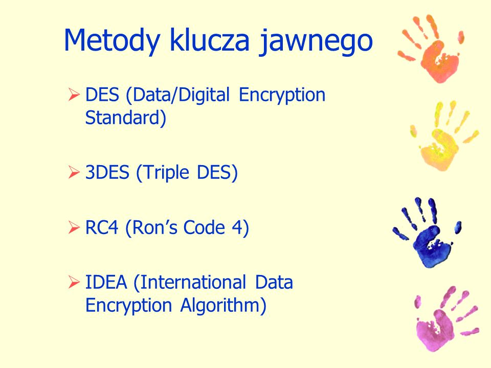 Metody klucza jawnego DES (Data/Digital Encryption Standard)