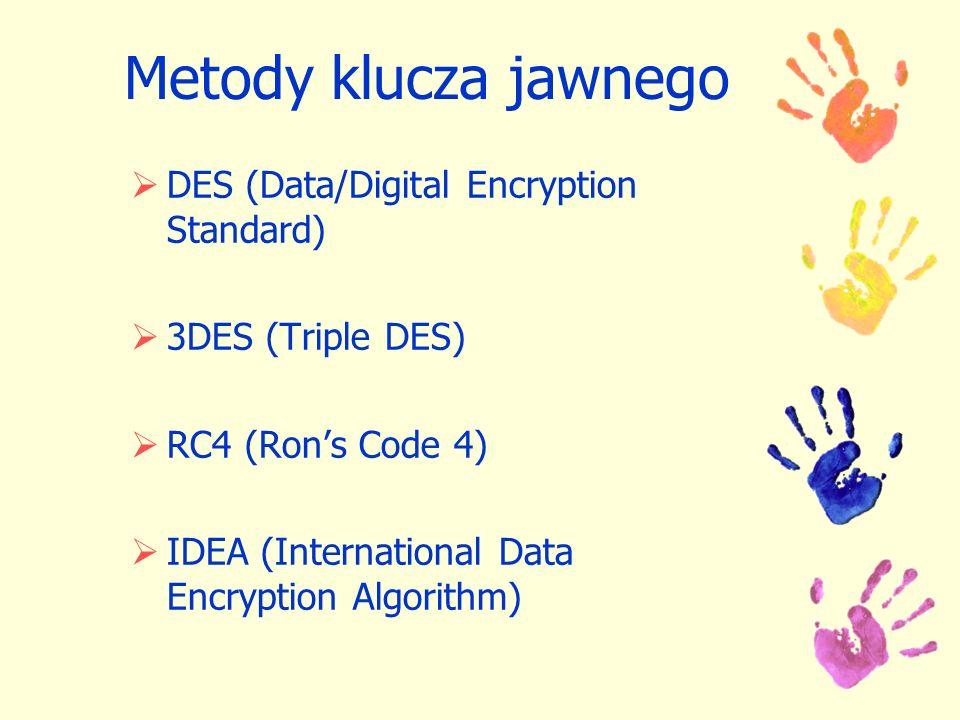 Metody klucza jawnego DES (Data/Digital Encryption Standard)