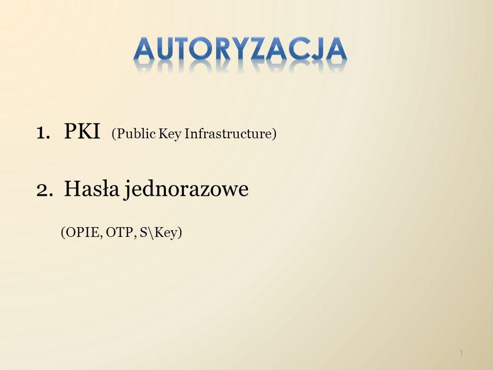 PKI (Public Key Infrastructure) Hasła jednorazowe (OPIE, OTP, S\Key)