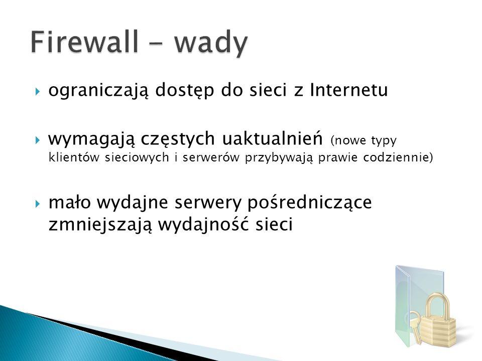 Firewall - wady ograniczają dostęp do sieci z Internetu