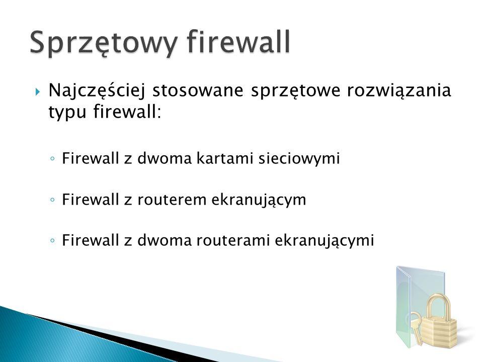 Sprzętowy firewall Najczęściej stosowane sprzętowe rozwiązania typu firewall: Firewall z dwoma kartami sieciowymi.