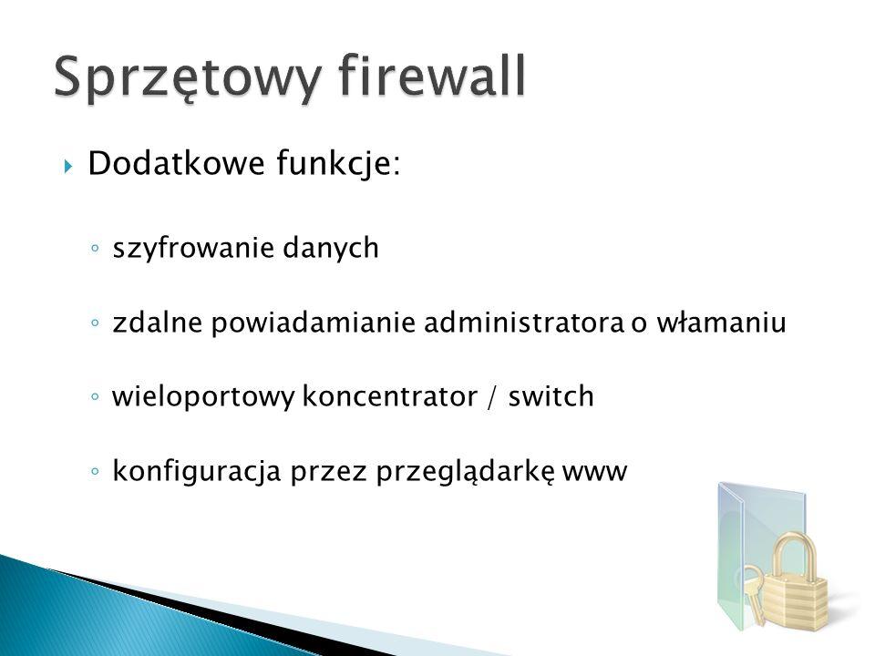 Sprzętowy firewall Dodatkowe funkcje: szyfrowanie danych