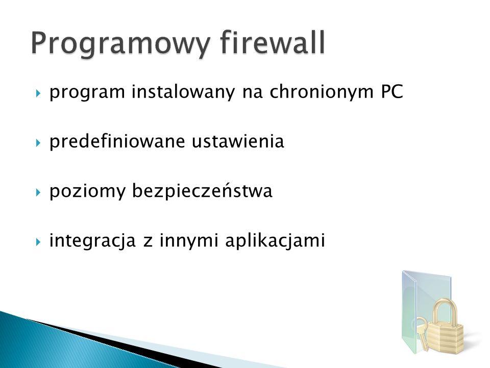 Programowy firewall program instalowany na chronionym PC