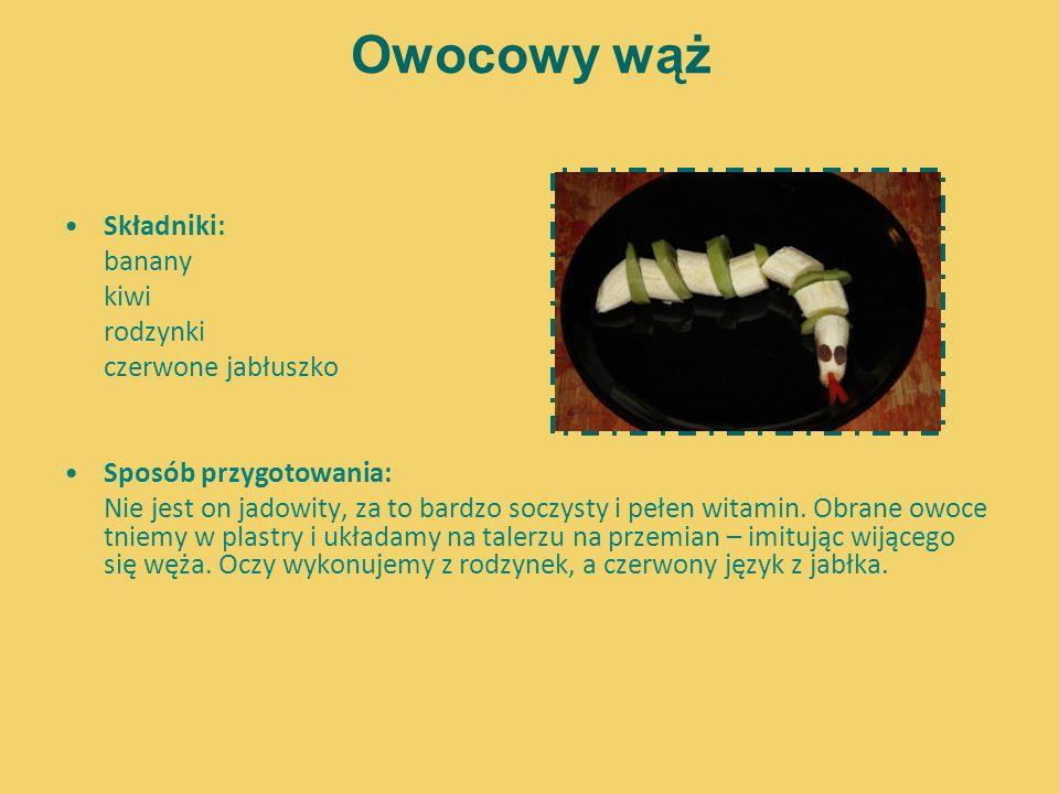 Owocowy wąż Składniki: banany kiwi rodzynki czerwone jabłuszko