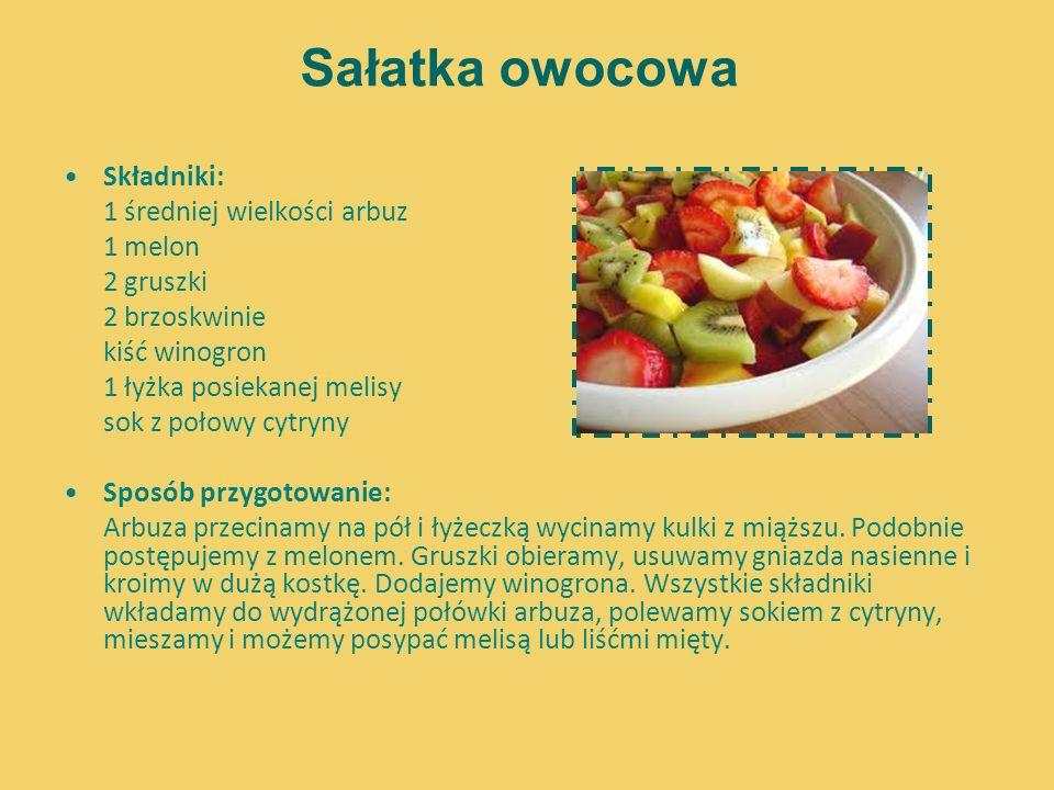 Sałatka owocowa Składniki: 1 średniej wielkości arbuz 1 melon